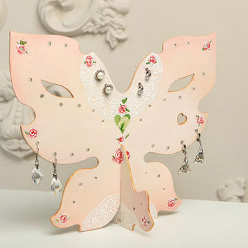 Jewelry Holder Shabby Chic Jewelry Holders Vintage Shabby Holder Earrings / Rose Butterfly