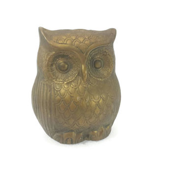 Vintage Brass Owl Coin Bank, Piggy Bank, Money Bank, Heavy Brass