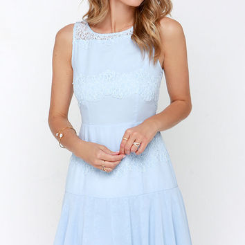 Pastel Me More Light Blue Lace Dress