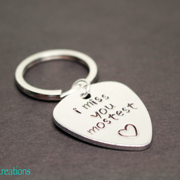 I Miss You Mostest, Guitar Pick Keychain, Heart Stamp, Long Distance Relationship, Couples, His and Hers, Best Friends, Friendship