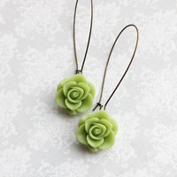 Green Rose Earrings Bridesmaids Jewelry Long Dangle Earrings Romantic Country Chic Green Wedding Flower Earrings Bridal Acessories