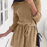 Tan Drawstring Knit Dress