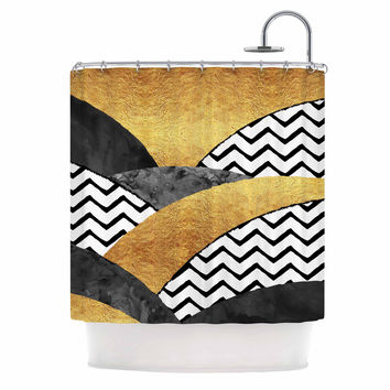 "Zara Martina Mansen ""Chevron Hills"" Gold Black White Shower Curtain"