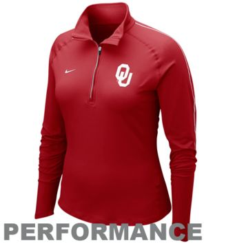 Nike Oklahoma Sooners Ladies Element Quarter Zip Pullover Performance Long Sleeve T-Shirt - Crimson