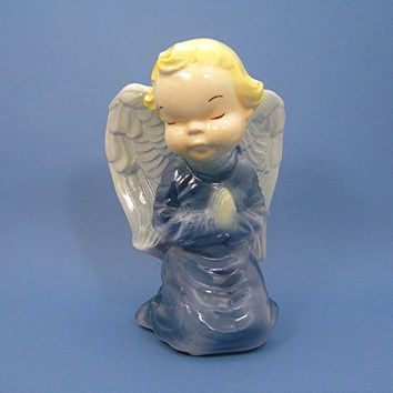 Royal Copley Praying Angel Wall Pocket, Blue Gown, Christmas Angel, Baby Nursery or Child's Room, Vintage 1950s Era Pottery, Hangs or Sits