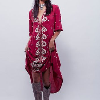 Bohemian dress Red Women Vintage Ethnic Flower Embroidered Cotton Linen Tunic
