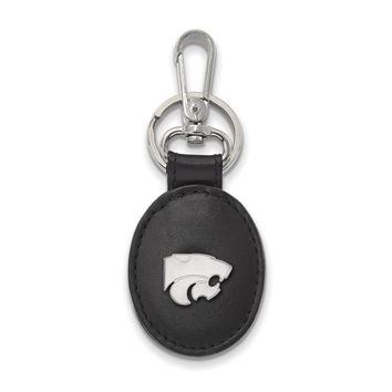 NCAA Sterling Silver Kansas State Black Leather Logo Key Chain