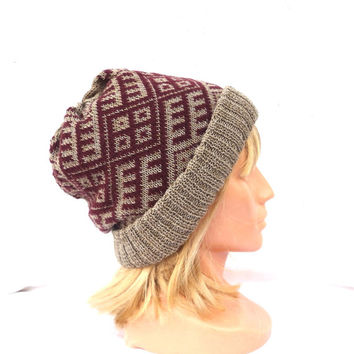 knitted winter hat, knit double beanie, colorful grey brown cap with lining, knitting women men patterned nordic skull cap, adult hat,