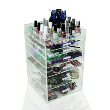 Acrylic Makeup Organizer, 6 Drawers, Clear, Cosmetic Cube Case, Box w/ Dividers & Top Tray