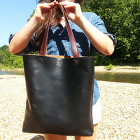Large Black Leather Tall Tote or Computer Bag