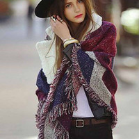 Purple Cashmere Scarf for Women Blanket Scarf with Tassel Shawl Wraps