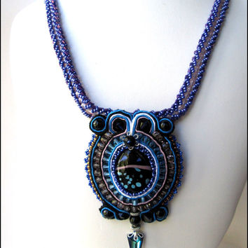 Blue Swarovski Necklace | Black Agate Necklace | Hand Beaded Necklace | Purple Pink Necklace | Soutache Necklace | Lady Green Eyes Jewelry