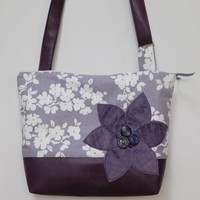 Cross Body Tote Bag/ Cross Body Shoulder Bag/ Purple Tote Bag/ Purple Shoulder Bag, Leather Tote Bag/ Purple Purse/ Crossbody Handbag, Tote