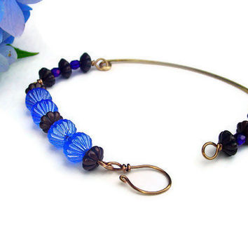 Brass bracelet blue glass beaded bracelet brass by BrandonArtists