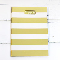 Gold Stripes Clipboard with Notepad Inside