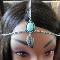 Beaded head piece, Vintage head chain, Silver head chain, Festival head chain, Hair Jewelry, Boho head piece, Hippie, Stone beaded