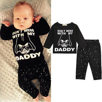 Autumn Winter Children Stuff Newborn Infant Baby Boy Star Wars Tops T-shirt Tops+Pants Outfits Set Baby Clothing