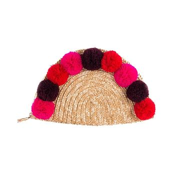 Women's Half-Moon Pom Pom Clutch