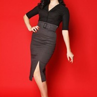 Vogue Pencil Skirt- Charcoal - Skirts by Heartbreaker Fashion