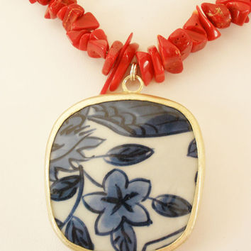 SALE - Pottery Shard Necklace,  Red Bamboo Coral Necklace with Porcelain Flower Pendant, OOAK Statement Necklace, Red, Blue, White, Asian