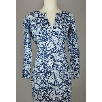 Cotton Tunic Top Blue with White Paisleys