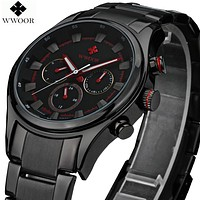 Luxury Clock Quartz Watch Men Sports Watches Male Black Steel Strap Military Wristwatch Waterproof