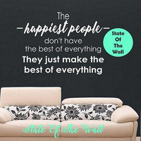 T he happiest people Wall Decal Motivational Quote Sticker Art Decor Bedroom Design Mural peace art be happy think happy Modern Design