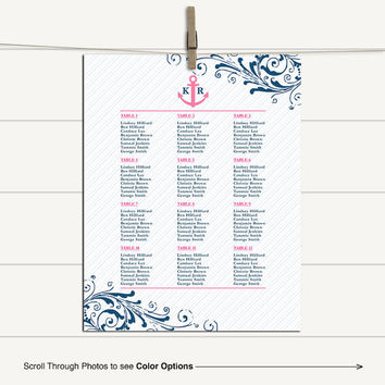 Nautical wedding seating chart printable sign | pink and navy wedding | guest seating plan | DIY, print or canvas - WLP00559