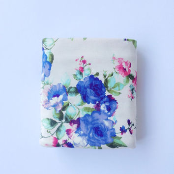 Blue floral swaddle baby blanket