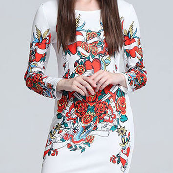 Flowers Printed White Long Sleeve Mini Bodycon Dress