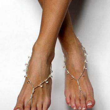 Beach Wedding Barefoot Sandals Bridal Jewelry Wedding Anklet Foot Jewelry for a bride Pearl Wedding Sandals  Foot Thong Wedding Sandals