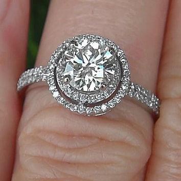 Diamond Engagement Ring -14K white gold - 1.25 carat Round - Double Halo - Pave - Antique Style - Weddings- Luxury - Bp019