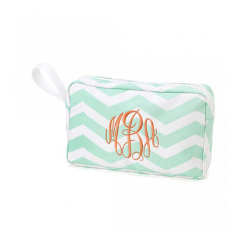 Monogrammed Accessory Bag Mint Chevron Nautical Beach Cosmetic Bag