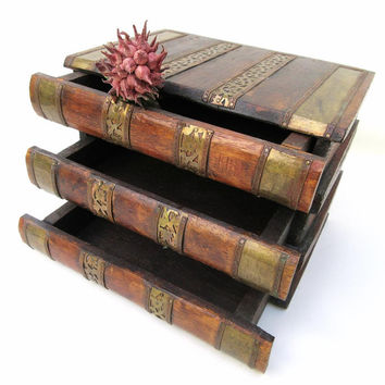 Vintage Book Box, Wooden Box with Drawers, 3 Drawer Chests, Mens Valet Box, Faux Books
