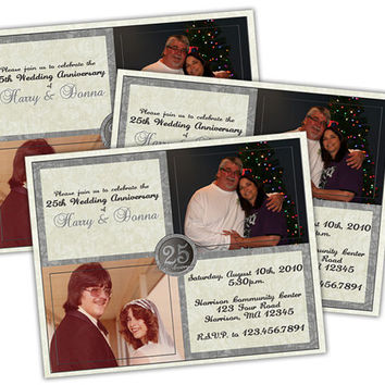 25th Wedding Anniversary Party Invitation - Then and Now Photo Silver Anniversary Invites - 25th Anniversary Party -  Silver Wedding