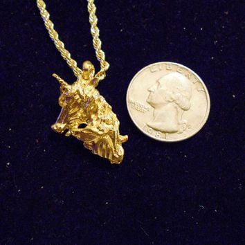 bling 14kt yellow gold plated fantasy mythical magic stonehenge fantasy legend folklore unicorn head with baby pendant charm 24 inch rope chain hip hop trendy fashion necklace jewelry