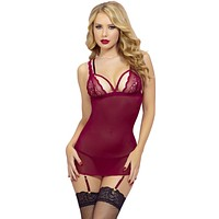 Sexy Valentine's Floral Lace and Mesh Harness and Cage Back Chemise with Removable Garters