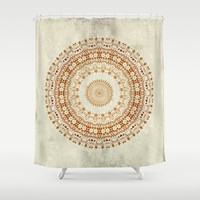 "Shower Curtain - Desire Mandala  - 71"" by 74"" Home Decor, Bathroom, Bath, Dorm, Girl, Decor, Boho, Mandala, Hippie, Bohemian, Beige, Yellow"