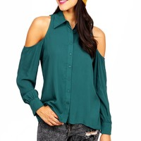Cold Shoulder Button Down