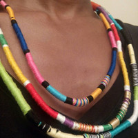 Multi colored threaded african tribal bib statement rope thread necklace