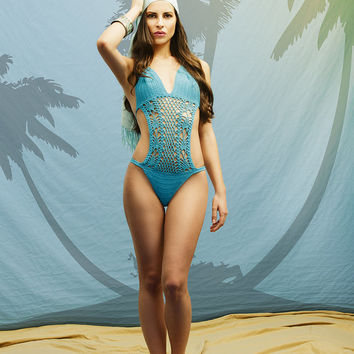 Turquoise crochet swimsuit, bathing suit, hot swimsuit, monokini, crochet one piece swimsuit, sexy bikini, beautiful swimwear.