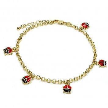 Gold Layered 03.63.1361.10 Charm Anklet , Ladybug and Rolo Design, Multicolor Enamel Finish, Gold Tone