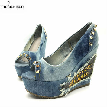2017 New Arrival Summer Peep Toe High Heels 12CM Denim Sandals Women Platform Pumps Fashion Rivets Wedge Shoes Woman Wedges
