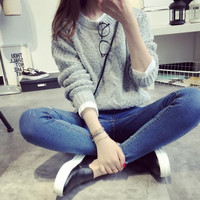 Autumn Grey Knit Sweater from hhotaru