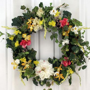 Chrysanthemum, Lilies and Roses Decorative Door Wreath (24 inch)