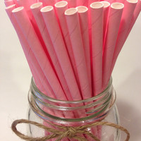 25 Solid Pink Paper Straws // baby bridal shower decorations // candy dessert buffet table // wedding / First birthday / new year party
