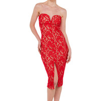 Everlasting Love Strapless Red Lace Midi Dress