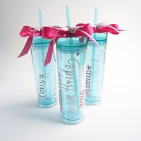 7 Bridesmaid skinny tumbler team bride gift set wedding party gift acrylic tumbler cups