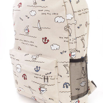 Beige Sailor Print Cute Canvas Backpack
