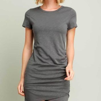 Ruched T-shirt Dress, Two Colors